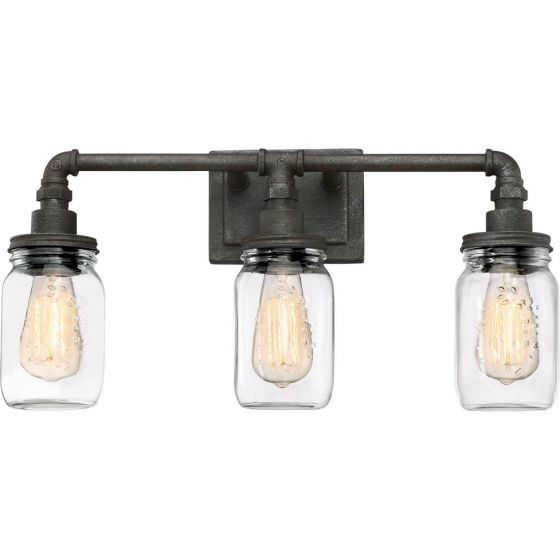 "Quoizel Squire 21.5"" 3-Light Clear Glass Bathroom Vanity Light in Rustic Black"