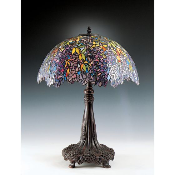 Quoizel Laburnum Tiffany 3-Light Table Lamp in Bronze Patina