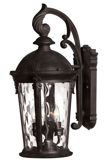 Hinkley Windsor 3-Light Outdoor Small Wall Mount in Black