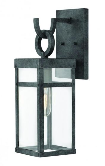 Hinkley Porter Iron 1-Light Outdoor Small Wall Sconce in Aged Zinc