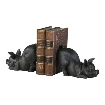 """Cyan Design Piggy 6.25"""" Cast Iron Bookends in Old World (Set of 2)"""