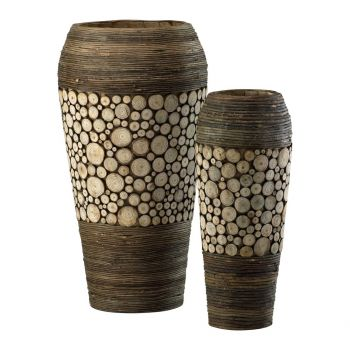 "Cyan Design Wood Slice 20.25"" Wood Vases in Birchwood/Walnut"