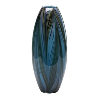 "Cyan Design Peacock Feather 20"" Glass Vase in Multi Colored Blue"