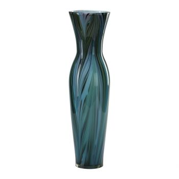 "Cyan Design Peacock Feather 23"" Glass Vase in Multi Colored Blue"