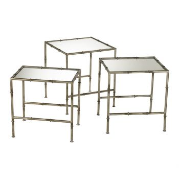 Cyan Design Bamboo Mirrored Glass Nesting Tables in Bronze (Set of 3)