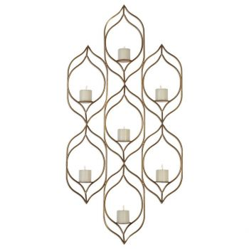 """Uttermost Rovena 58.75"""" 7-Candle Wall Sconce in Antique Gold Leaf"""