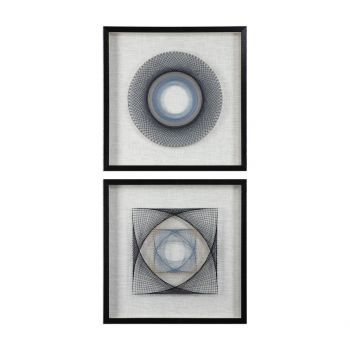 Uttermost String Duet Geometric Wall Art in Natural/Black (Set of 2)