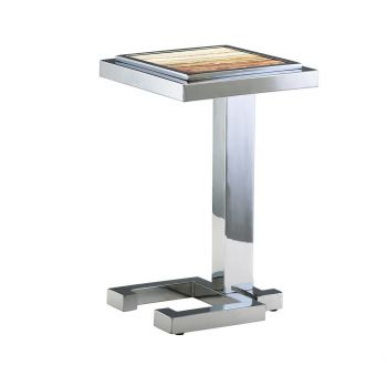 """Cyan Design Tandy 13.5"""" Marble Top Accent Table in Chrome"""