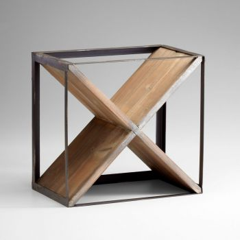 """Cyan Design Cube 16.25"""" Wine Holder in Raw Iron/Natural Wood"""