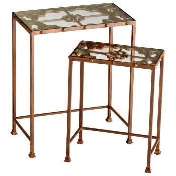 Cyan Design Gunnison Glass Top Nesting Tables in Rust (Set of 2)