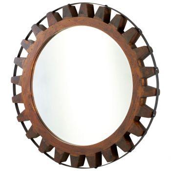 "Cyan Design Landry 32"" Mirror in Raw Iron/Natural Wood"