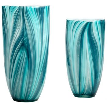 "Cyan Design Turin 10.25"" Glass Vase in Turquoise Blue"
