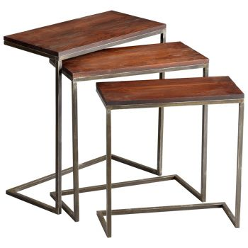 Cyan Design Jules Nesting Tables in Walnut/Graphite (Set of 3)