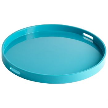 """Cyan Design Estelle 23.75"""" Wood Tray in Teal Lacquer"""