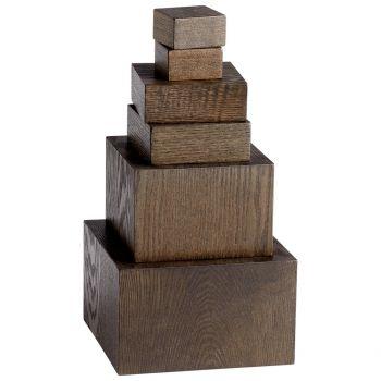 """Cyan Design Art 9.25"""" Wood Pedestals in Brown"""
