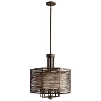 Cyan Design Pascal 8-Light Cotton Fabric Shade Chandelier in Old World