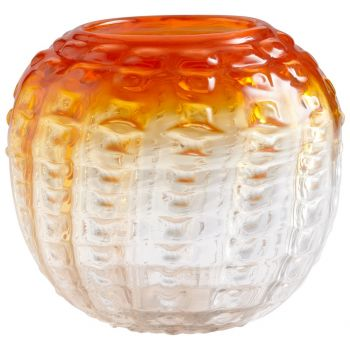 "Cyan Design Fire Pod 9.5"" Glass Vase in Orange/Clear"