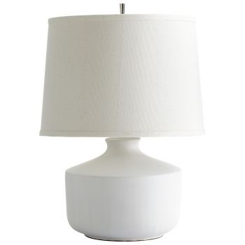 "Cyan Design Mountain Snow 24"" Off-White Linen Shade Table Lamp in White"