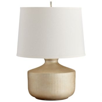 """Cyan Design Titanium Love 21"""" Off-White Shade Table Lamp in Gold"""