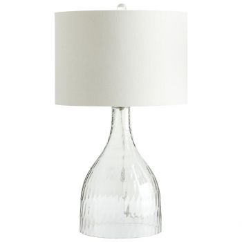 """Cyan Design Big Dipper 27.75"""" White Linen Shade Table Lamp in Clear"""