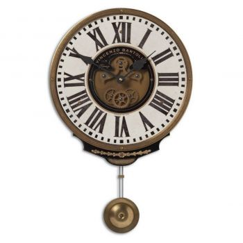 "Uttermost Vincenzo Bartolini 17"" Wall Clock in Weathered Laminate/Brass"