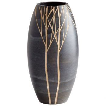 "Cyan Design Onyx Winter 14"" Wood Vase in Black"
