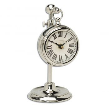 "Uttermost Pocket Watch 12"" Cream Table Clock in Nickel Plated Brass"