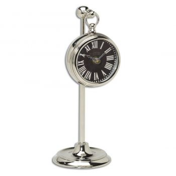 "Uttermost Pocket Watch 12"" Black Table Clock in Nickel Plated Brass"