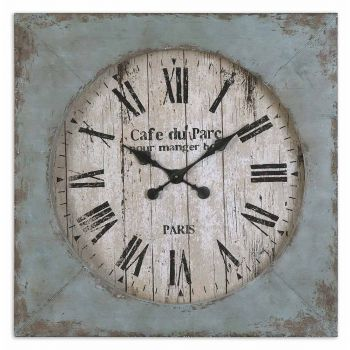 Uttermost Paron Square Wall Clock in Distressed Aged Blue
