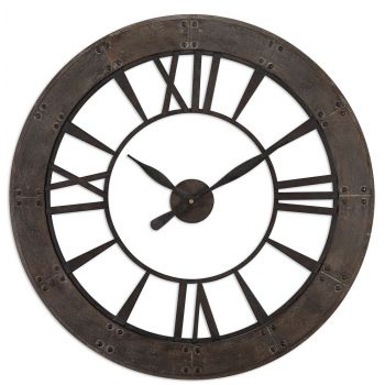 "Uttermost Ronan 40"" Wall Clock in Dark Rustic Bronze"