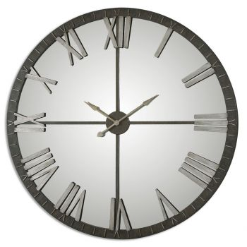 "Uttermost Amelie 60"" Wall Clock in Distressed Rustic Bronze"