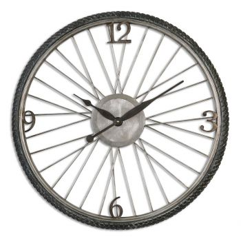 "Uttermost Spokes 26.25"" Wall Clock in Antique Silver Champagne"