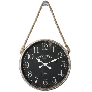 "Uttermost Bartram 41"" Wall Clock in Matte Black w/ Rope Accent"