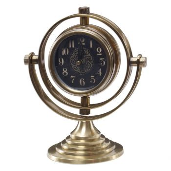 "Uttermost Almonzo 7.5"" Table Clock in Brass/Black"