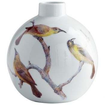 "Cyan Design Aviary 7"" Ceramic Vase in White"