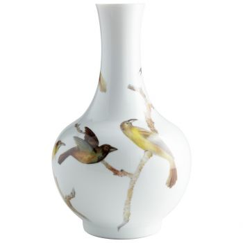"Cyan Design Aviary 17"" Ceramic Vase in White"