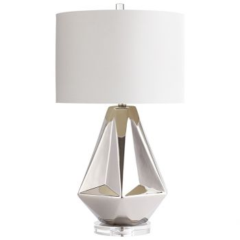Cyan Design Silver Sails Off-White Cotton Shade Table Lamp in Chrome