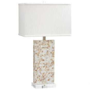 Cyan Design Palm Sands Off-White Sill Shade Table Lamp in Mother of Pearl
