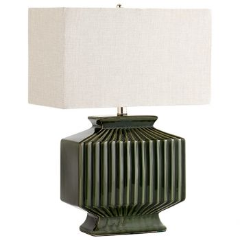 """Cyan Design Hamilton 23.5"""" Linen Shade Table Lamp in Green"""