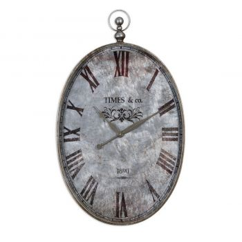 "Uttermost Argento 34.5"" Wall Clock in Brushed Aluminum"