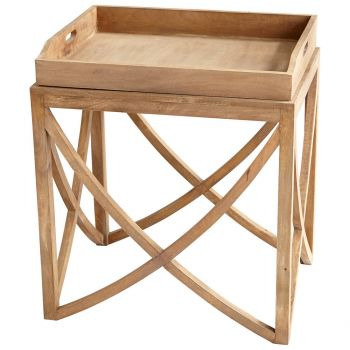 """Cyan Design Lancer 23.25"""" Wood Tray Table in Light French Gray"""