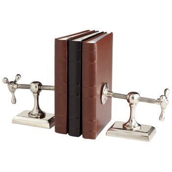 """Cyan Design Hot & Cold 8"""" Bookends in Nickel"""