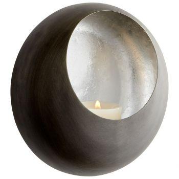 """Cyan Design Aeneas 6.25"""" Wall Candleholder in Antique Zinc/Silver Leaf"""