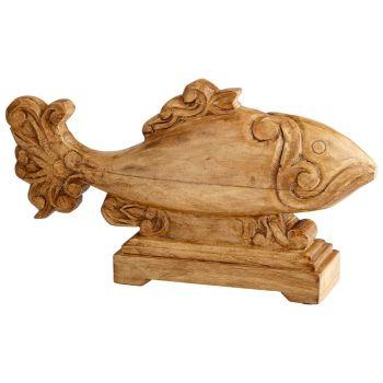 """Cyan Design Pesce 18"""" Wood Sculpture in Natural"""