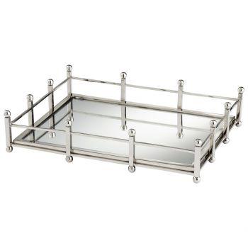 "Cyan Design Turnbuckle 16"" Mirrored Glass Tray in Nickel"