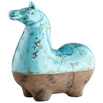 "Cyan Design Cavallo 14.25"" Sculpture in Blue Glaze"