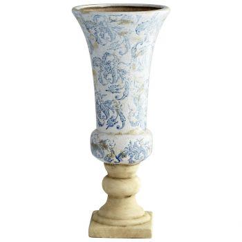 "Cyan Design Baroque 18.5"" Planter in Blue/White"