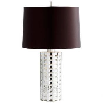 "Cyan Design Capella 28.5"" Brow Satin Shade Table Lamp in Nickel"