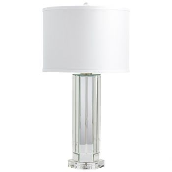 "Cyan Design Lucida 29"" White Cotton Shade Table Lamp in Clear"