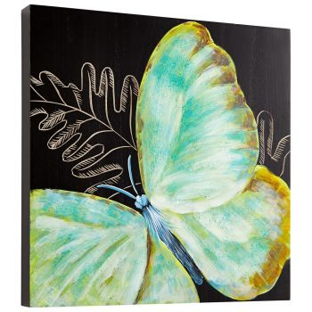 "Cyan Design Papillon 15.75"" Wood Wall Art in Black/Blue"